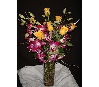 Texas Gold w/ Orchids in Dallas TX, Z's Florist