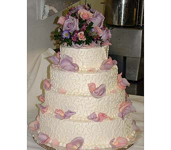 Cake Decorated With Pink & Lavender Roses in Tuckahoe NJ, Enchanting Florist & Gift Shop