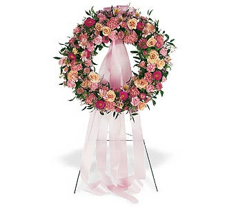 Respectful Pink Wreath in Santa Clara CA, Citti's Florists