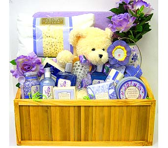 GB219 ''Lavender & Mimosa'' Bath & Body Gift Basket in Oklahoma City OK, Array of Flowers & Gifts