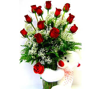 FF68 ''Bear-ing My Love'' 12 Roses & Bear in Oklahoma City OK, Array of Flowers & Gifts
