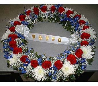 Circle Wreath -Red, White, & Blue - Standing Easel in Dallas TX, Z's Florist