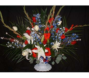 Red, White, & Blue - Funeral Basket Spray in Dallas TX, Z's Florist