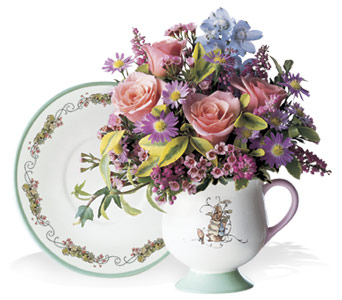 Peter Rabbit Teacup & Saucer in Shoreview MN, Hummingbird Floral