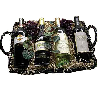 Wine Basket in New Milford NJ, Denis Flowers