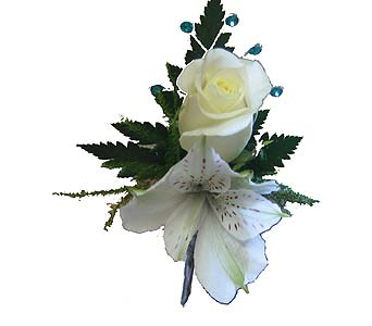 White Boutonniere with Teal Blue Accents in Wyoming MI, Wyoming Stuyvesant Floral