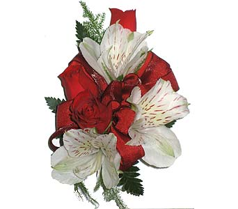 Ravishing Red & Purely White Wrist Corsage in Wyoming MI, Wyoming Stuyvesant Floral