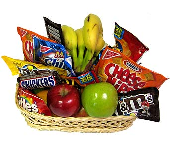 Snacks, Fruit, and Candy Basket in Wyoming MI, Wyoming Stuyvesant Floral