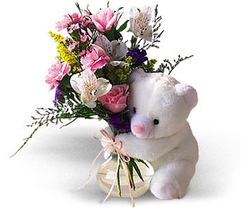 Teleflora's Bear Hug Bear with Roses in Attalla AL, Ferguson Florist, Inc.
