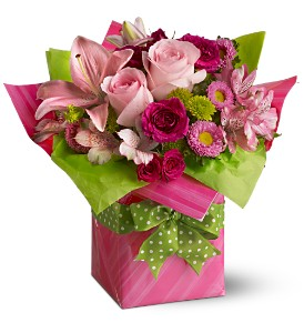 Teleflora's Pretty Pink Present in Chapel Hill NC, Floral Expressions and Gifts
