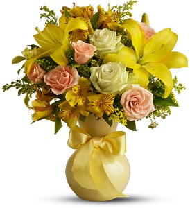 Teleflora's Sunny Smiles in Houston TX, Village Greenery & Flowers