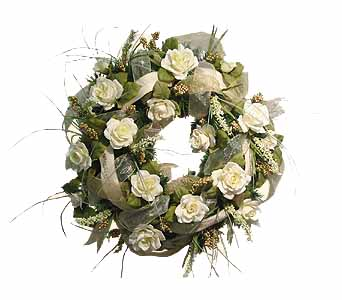 HW-2412 ''MUSIC NOTES AND ROSES'' CHRISTMAS WREATH in Oklahoma City OK, Array of Flowers & Gifts