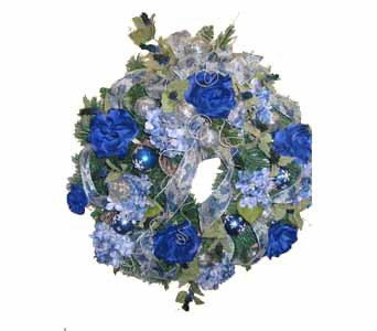 HW-2471 ''BEAUTIFUL BLUE'' CHRISTMAS WREATH in Oklahoma City OK, Array of Flowers & Gifts