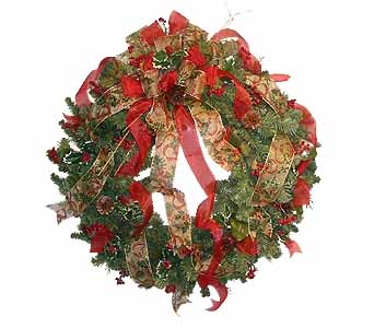HW-2209 ''Artificial Christmas Wreath'' in Oklahoma City OK, Array of Flowers & Gifts