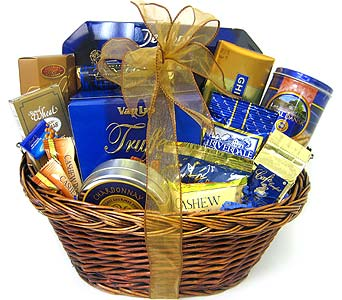 GF67 ''Singing The Blues'' Gourmet Food Basket in Oklahoma City OK, Array of Flowers & Gifts