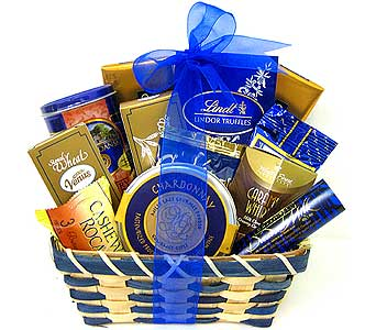 GF71 ''Misty Blue'' Gourmet Goody Basket in Oklahoma City OK, Array of Flowers & Gifts
