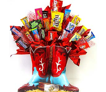 CB166 ''Boot Scootin' Cowboy'' Candy Bouquet in Oklahoma City OK, Array of Flowers & Gifts