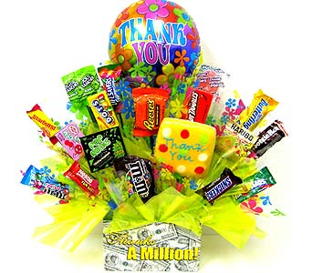 CB170 ''Thanks A Million'' Candy & Cookie Bouquet in Oklahoma City OK, Array of Flowers & Gifts
