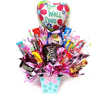 CB176 ''Butterfly Wishes'' Get Well Candy Bouquet in Oklahoma City OK, Array of Flowers & Gifts