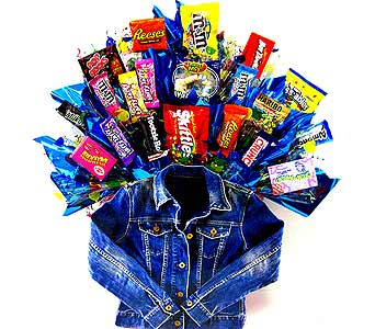 CB208 ''Jean Jacket'' Candy Bouquet in Oklahoma City OK, Array of Flowers & Gifts