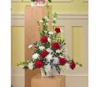 Red and White Arrangement in Rock Island IL, Colman Florist