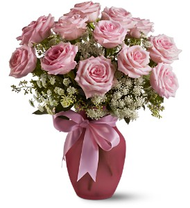 A Dozen Pink Roses and Lace in Ottumwa IA, Edd, The Florist, Inc