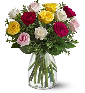 A Dozen Mixed Roses in Bakersfield CA, White Oaks Florist