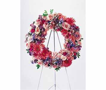 Pink Wreath in Rock Island IL, Colman Florist