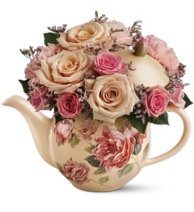 Teleflora's Victorian Teapot Bouquet in Stoney Creek ON, House Of Floral Designs