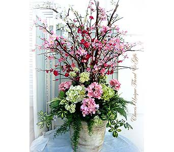 Silk Cherry & Peach Blossom with Hydrangea in Lake Forest CA, Cheers Floral Creations