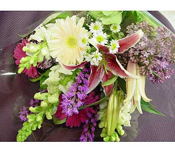 Lilac and Gerbera Bouquet in Massapequa Park NY, Bayview Florist & Montage  1-800-800-7304