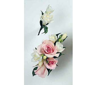 White Freesia Boutonnier and Pink Spray Rose and White Freesia Wristlet in Albany NY, Emil J. Nagengast Florist
