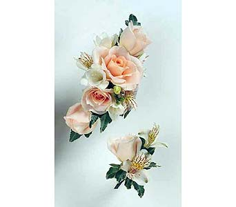 Peach Spray Rose and Alstroemeria Wristlet and Boutonnier in Albany NY, Emil J. Nagengast Florist