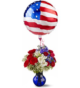 Red, White and Balloon Bouquet in Surrey BC, Surrey Flower Shop