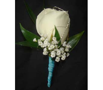 White Rose Boutonniere in Farmington CT, Haworth's Flowers & Gifts, LLC.
