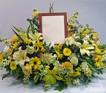 Full casket spray with photo in Lower Gwynedd PA, Valleygreen Flowers and Gifts
