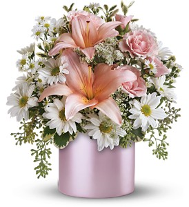 Teleflora's Tickled Pink Bouquet in Jamesburg NJ, Sweet William & Thyme