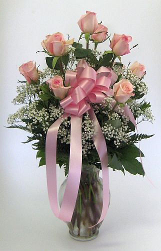 One Dozen Roses Arranged-Pink in Salisbury MD, Kitty's Flowers