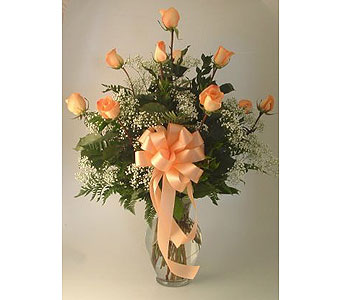 One Dozen Roses Arranged-Peach in Salisbury MD, Kitty's Flowers