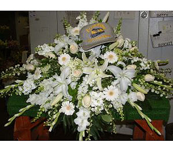 All White Casket Spray in Salisbury MD, Kitty's Flowers