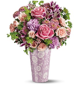 Teleflora's Pink Damask Vase Bouquet in Bellevue PA, Fred Dietz Floral