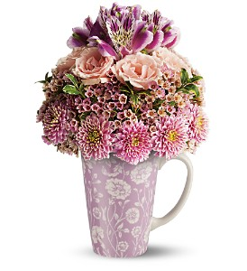 Teleflora's Pink Damask Mug Bouquet in Bellevue PA, Fred Dietz Floral