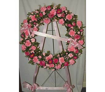 Funeral Wreath-All Pinks in Salisbury MD, Kitty's Flowers