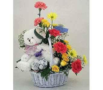 Teddy Bear Basket in Indianapolis IN, Gillespie Florists