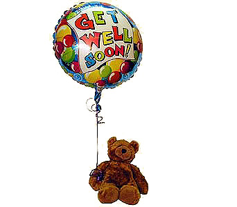 Get Well Bear With Mylar Ballo Local and Nationwide Guaranteed Delivery - GoFlorist.com