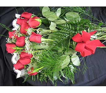 FRESH ROSES WRAP BOUQUET in New Paltz NY, The Colonial Flower Shop