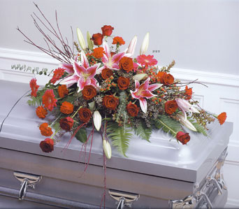 Pink and Red Twig Casket Spray in Baltimore MD, Raimondi's Flowers & Fruit Baskets