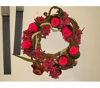 Wreath with Preserved Roses in Newmarket ON, Blooming Wellies Flower Boutique