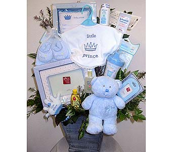 BabyGB63 ''Little Prince'' Baby Boy Gift Basket in Oklahoma City OK, Array of Flowers & Gifts