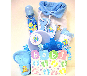 BabyGB66 ''Baby Footprints'' Gift Basket for Baby Boy in Oklahoma City OK, Array of Flowers & Gifts